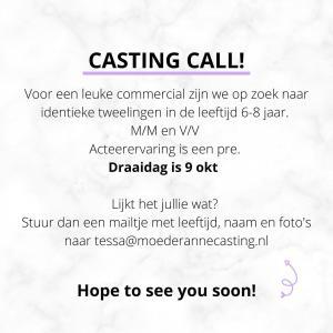 Casting call! We zijn op zoek naar identieke tweelingen in de leeftijdscategorie 6-8 jaar.