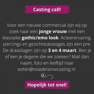 CASTING CALL! Ben je of ken je degene die we zoeken? Mail dan naar esther@moederannecasting.nl 🎥